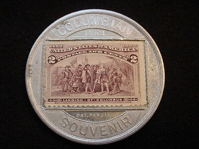 Columbian Exposition Encased Two Cents Postage Stamp Souvenir Medal