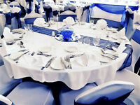 Wedding Venue Decoration Chair Cover Hire 45p FREE Sash... Mirror Plate Fish Bowl Vases CENTERPIECES