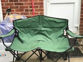FOLDING DOUBLE SEAT IDEAL FOR GARDEN OR CAMPING