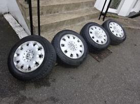"""vw volkswagen t5 transporter 16"""" steel wheels michelin tyres +hub caps"""