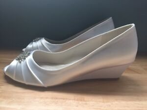 Brand New Never Worn White Satin Wedge Wedding Shoes