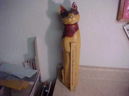 "Hand Carved wood sculpture 18""+ tall cat-American folk art-Signed Paula Dimit"