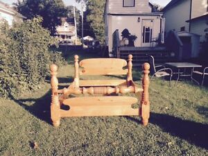 Pine cannonball bed frame