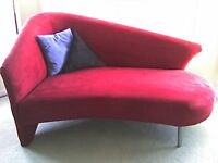 ►►► MICROSUEDE RED LOUNGE SOFA CHAIR ◄◄◄