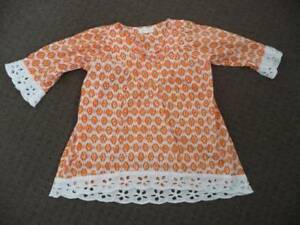 Girls Taksi Brand Size 5/8 years A Line Top Orange and white