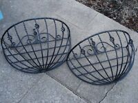 Metal Wall Baskets x 2.