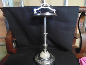 VINTAGE CHROME AND MARBLE ASHTRAY STAND