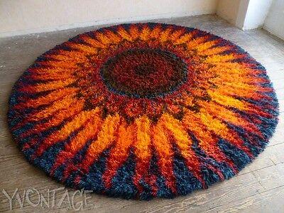 Exklusiver XXL Teppich Hochflor 260 cm orange rot blau Sonne 60er 70er Space Age