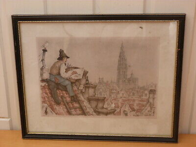 Collectable Framed Anton Pieck Roof Top 1968 Picture Coloured H24cm W30cm