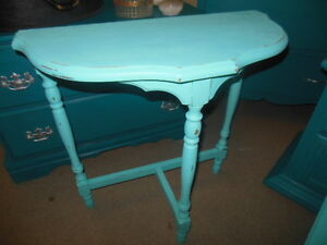 Half moon table or spindle magazine rack, light teal London Ontario image 2