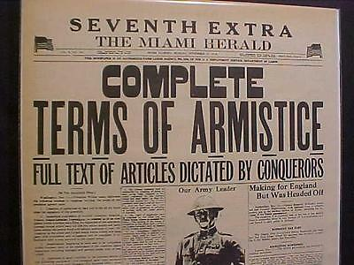 VINTAGE NEWSPAPER HEADLINE~WORLD WAR 1 ENDS Armistice Day Germany Surrenders WWI