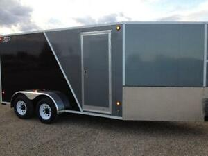 CLEAR OUT - 2015 CJay 7x14 Enclosed Trailer (Grey/Black) - 3372