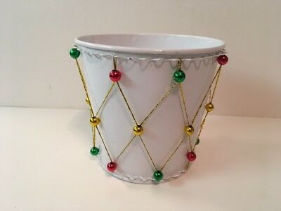 Decorative White with Little Ornament Balls on Garland Christmas Pot 4.75
