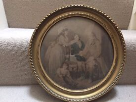 "Vintage Round picture of ""The Farmer's Visit"" . Collect from Fulham"