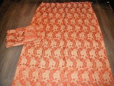 Vintage 40s 50s orange biege jacquard weave flower pattern pr curtains