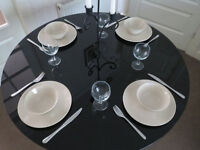 Neat dining table, round black glass top with black metal legs, pet/smoke free, kitchen chair desk