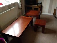 Solid wood coffee table and two lamp tables