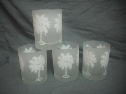 Rare Vintage Georges Briard Palm Tree Frosted Glass Low Ball Rocks Tumblers Set