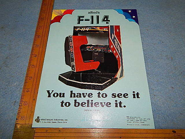1975 Allied Leisure F-114 Arcade Game Advertising Mailer