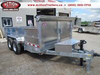 LARGEST ALUMINUM DUMP TRAILER 7 X 14' - NO MORE RUST -A MUST SEE