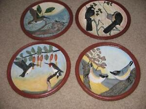 3 D BIRD PLATES - SET OF 4