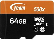 Team 64GB microSDXC UHS-I/U1 Class 10 Memory Card with Adapter, Speed Up to 80MB