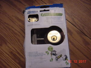 Brass Schlage deadbolt  KEYED BOTH SIDES