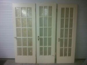 ANTIQUE FIR FRENCH DOORS WITH GLASS KNOBS
