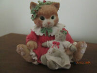 CALICO KITTENS HOLIDAY CAT FIGURINE BY ENESCO