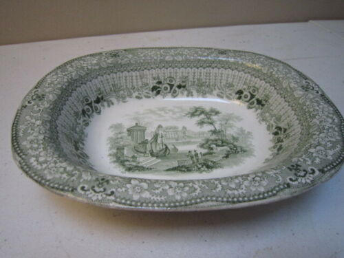 "Antique Green Transferware Ridgeway Grecian Pattern 8 ½"" Vegetable Bowl"