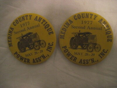 2 OLD VINTAGE 1977 POWER ASS'N TRACTOR PINS PINBACKS COLLECTIBLE