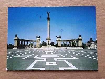 Vintage 1980 Postcard BUDAPEST HUNGARY Millennium Monument - free US shipping