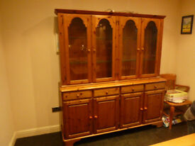 Ducal antique pine 4 door dresser. glass fronted cabinet.