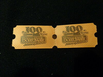 Santa Cruz beach and Boardwalk (2) 100 year prize tickets