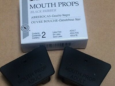 Dental Mouth Prop Bite Blocks Black Rubber Adult Latex Free 2 In A Box Miltex