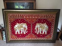LARGE Hand embossed Silver Sequin Elephant Kalaga Tapestry Framed Wall-Art