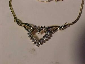 """#908-14K ATTRACTIVE HEART/DIAMOND(2) NECKLACE-18"""" LONG TONGUE AND BOX CLOSURE WITH SAFETY 8-GREAT VALUE-EMAIL BANK TRAN"""