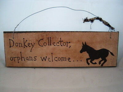 Hand Painted Primitive Rustic Wood Donkey Barn Sign Donkey Collector