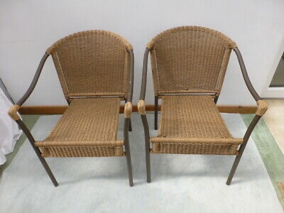 2 X Rattan And Metal Garden Chairs