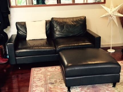 King Living Furniture DELTA 2.5 Seater Leather Sofa and Ottoman Stanmore Marrickville Area Preview