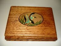 Flying Ducks Box TRINKET / DRESSER / DESK / CARDS Oak & Enamel