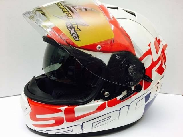 Scorpion Exo-1200 Air Stream Quarterback Motorcycle Helmet Red/White/Blue