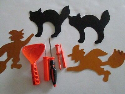 Pumpkin carving instruments and 2 witch and 2 cat stencils