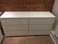 IKEA Malm 2x chest of 3 drawers and 2x bedside tables