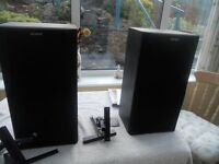 Two large black Sony Speakers plus wall mountings all good condition