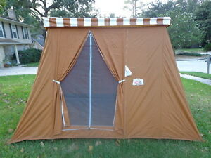 Vintage coleman 10 039 x 8 039 canvas springbar tent for Canvas tent fly