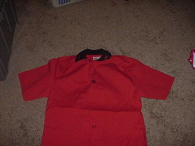 Vintage Nwot Mens Uniform 7 Eleven Small Unisex Red Button Short Sleeve Shirt