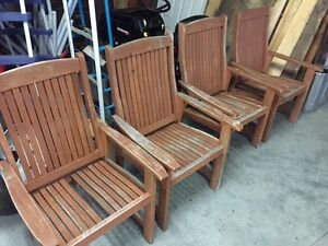 4 Solid Wooden Patio Chairs