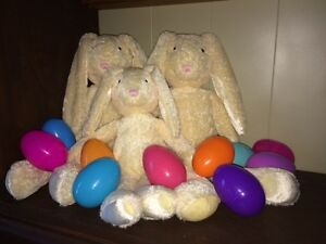 NEW Quality Stuffed Bunnies (2 large, 1 medium), Fillable Eggs +