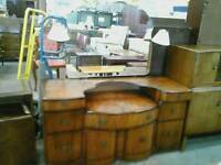 Large Vintage Dressing Table With 2 Lamps and Stool